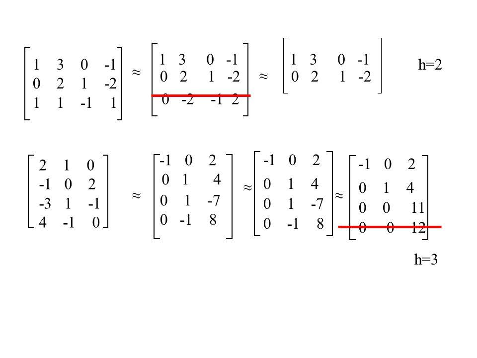 Soustavy rovnic x + 2y - z = 0 -2x + y - 2z = 0 3x +y + z = 0 12 -1 -2 1 -2 3 1 1 1 2 -1 0 5 -4 0 -5 4 h=2, n=3, soustava má nekonečně mnoho řešení volíme n-h=1 parametr x + 2y - z = 0 5y - 4 z = 0 x + 2y = t 5y = 4t