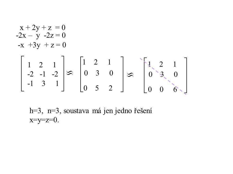x + 3y + z - 2v = 1 -2x -2y -2z + v = 2 -x +y -z - v = 3 13 1 -2 1 -2 -2 -2 1 2 -1 1 - 1 -1 3 0 4 0 -3 4 1 3 1 –2 1 řešení má, n=4 takže volíme n-h=4-2=2 parametry… x + 3y + z - 2v = 1 4y -3v = 4 x + 3y = 1- s + 2t 4y =4 +3t