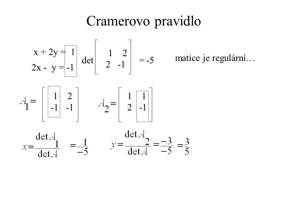 x +2y + z = 1 2x – y + 2z = 2 x – 2y - 2z =-1 det 12 1 2 -1 2 1 -2 -2 =2-4+4-(-1-4-8) = 15 matice je regulární… 1 2 2 -2 1 2 -2 1 2 -2 1 2 121121 1 2 121121 2 -2 = 5 = 0 = 10 det