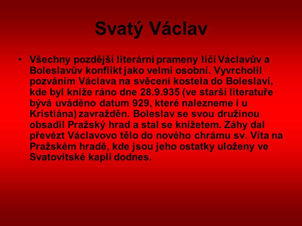 Svatý Václav Interpretace Václavovy smrti Není pochyb o tom, že mezi knížetem Václavem a jeho mladším bratrem Boleslavem probíhaly názorové spory.