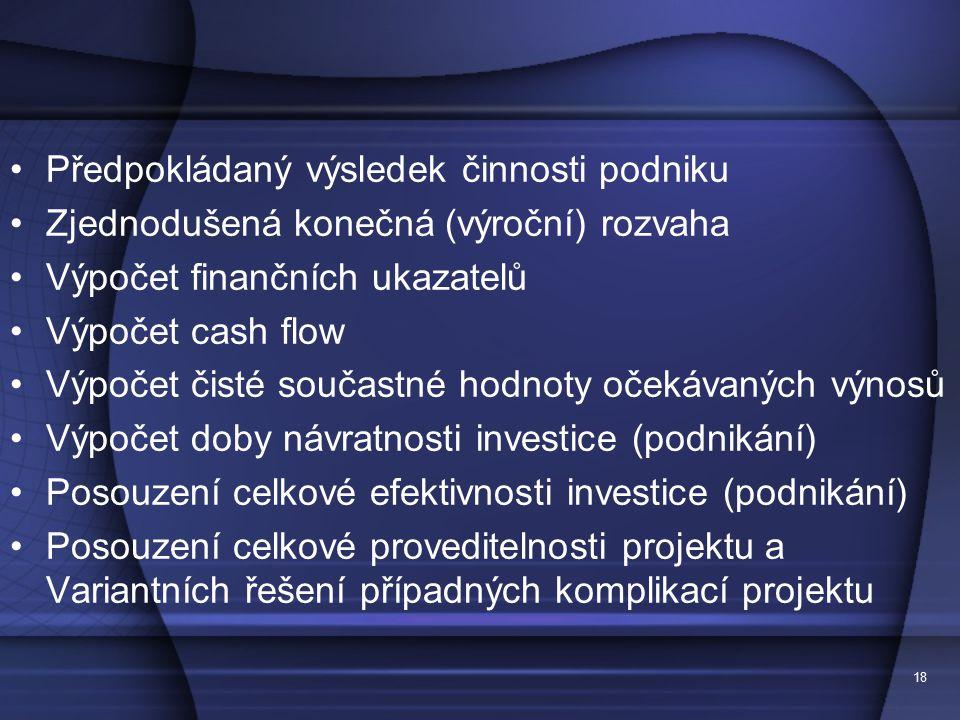 19 7. Executive summary stručná prezentace pro potenciální investory