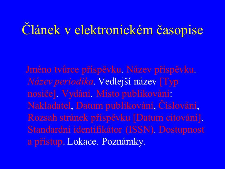Článek v elektronickém časopise Příklad RYLICH, Jan.