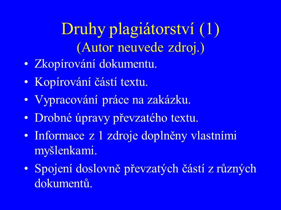 Druhy plagiátorství (2) Necitování v textu – pouze soupis v závěru.