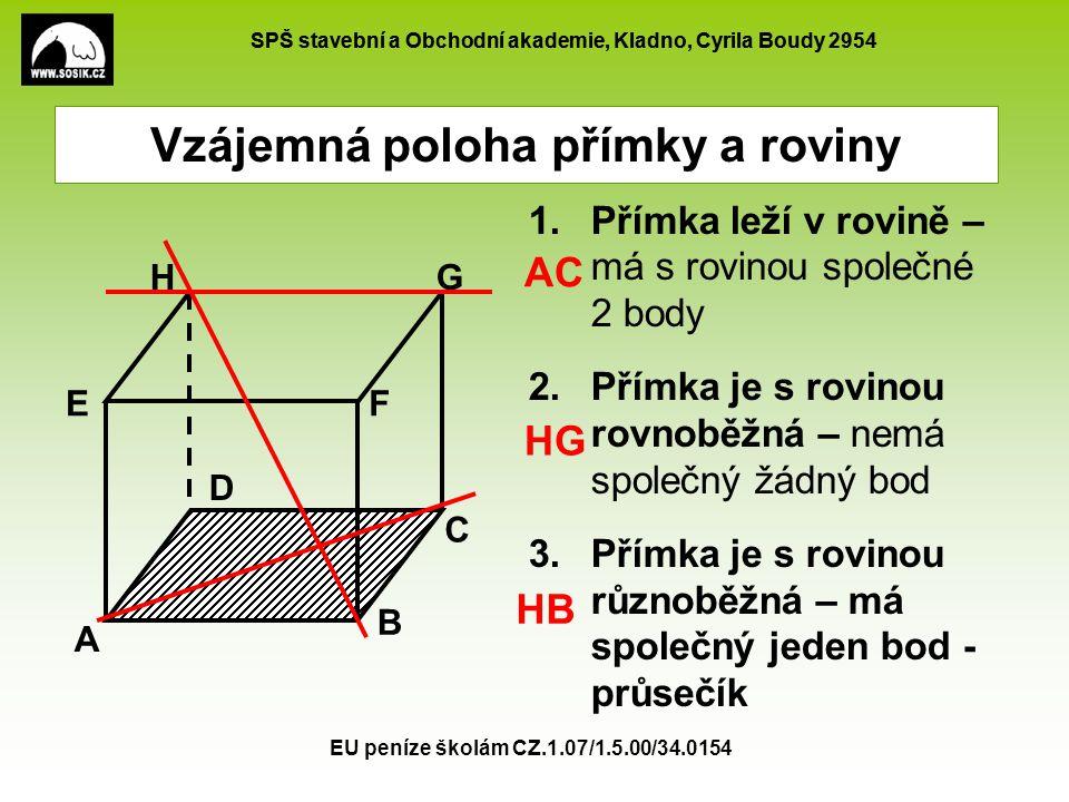 SPŠ stavební a Obchodní akademie, Kladno, Cyrila Boudy 2954 EU peníze školám CZ.1.07/1.5.00/34.0154 Vzájemná poloha přímky a roviny Kritérium rovnoběžnosti přímky a roviny.
