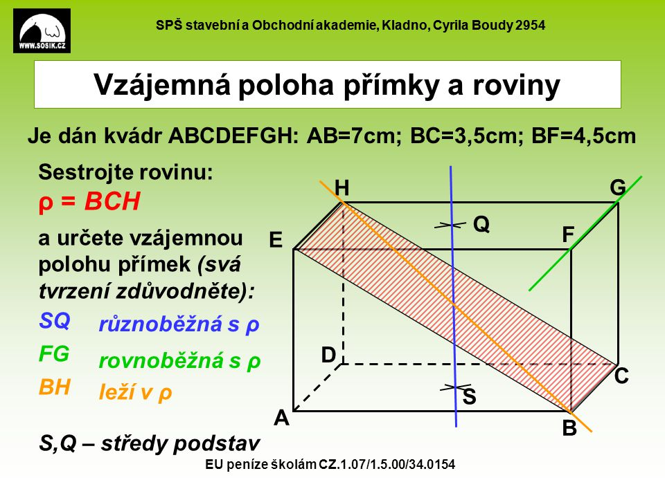 SPŠ stavební a Obchodní akademie, Kladno, Cyrila Boudy 2954 EU peníze školám CZ.1.07/1.5.00/34.0154 Vzájemná poloha přímky a roviny - procvičování K je střed stěny ABDC L je střed stěny BCFG Jaká je vzájemná poloha: Přímky KL a roviny CDH Své tvrzení zdůvodněte A B C D EF GH K L Přímka je rovnoběžná s rovinou - protože je rovnoběžná s přímkou DG roviny CDH