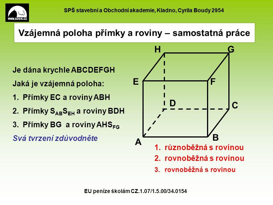 SPŠ stavební a Obchodní akademie, Kladno, Cyrila Boudy 2954 EU peníze školám CZ.1.07/1.5.00/34.0154 Domácí úkol K je střed stěny ABDC L je střed stěny BCFG M je střed stěny EFGH N je střed stěny ADHE Jaká je vzájemná poloha: 1.Přímky KL a roviny CDH 2.Přímky LN a roviny ABG 3.Přímky LM a roviny BCE 4.Přímky KN a roviny EFG A B C D EF GH K L M N 1.rovnoběžná s rovinou 2.leží v rovině 3.rovnoběžná s rovinou 4.různoběžná s rovinou Domácí úkol: