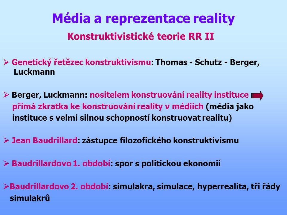 Média a reprezentace reality Konstruktivistické teorie RR II  Genetický řetězec konstruktivismu: Thomas - Schutz - Berger, Luckmann  Berger, Luckmann: nositelem konstruování reality instituce přímá zkratka ke konstruování reality v médiích (média jako instituce s velmi silnou schopností konstruovat realitu)  Jean Baudrillard: zástupce filozofického konstruktivismu  Baudrillardovo 1.