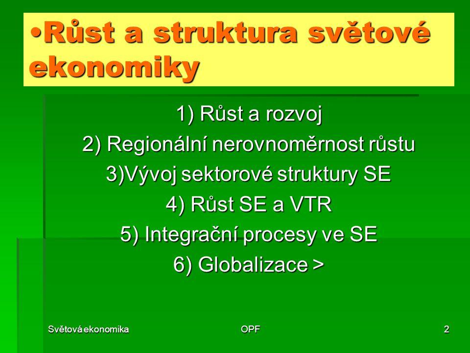 Světová ekonomikaOPF3 1 Růst a rozvoj  Minimální tempa růstu  Typy růstu  Nerovnoměrnost růstu  Časová  Regionální  Sektorová >