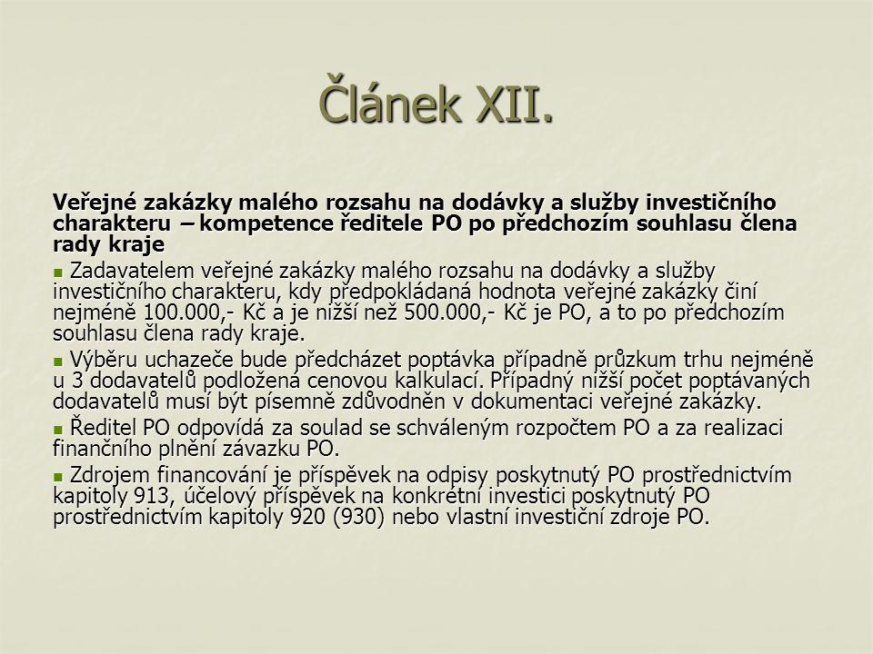 Článek XIII.