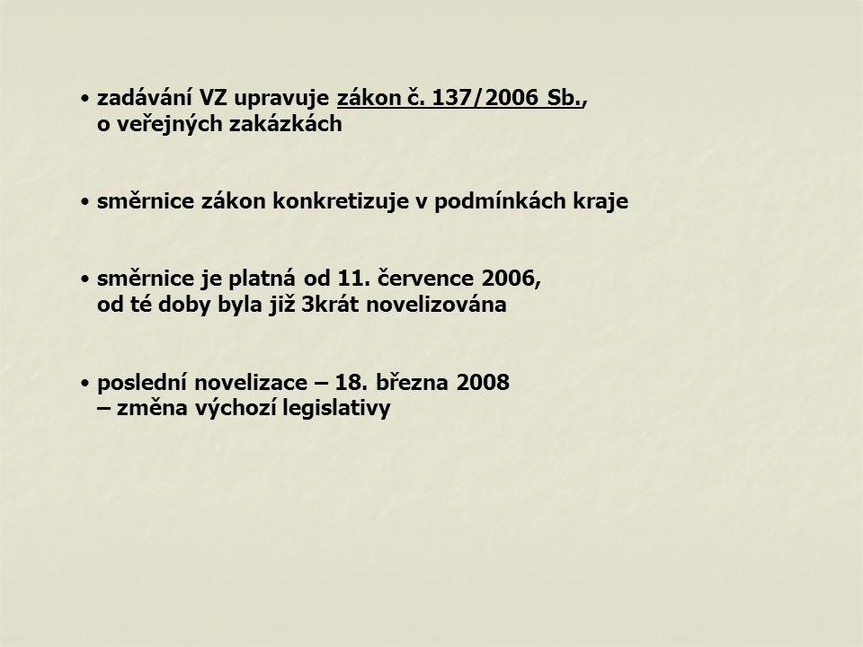 Členění směrnice Část A – předmět úpravy, obecná ustanovení Část B – zadávání VZ – LK Část C – zadávání VZ – PO Část D – zvláštní a závěrečná ustanovení
