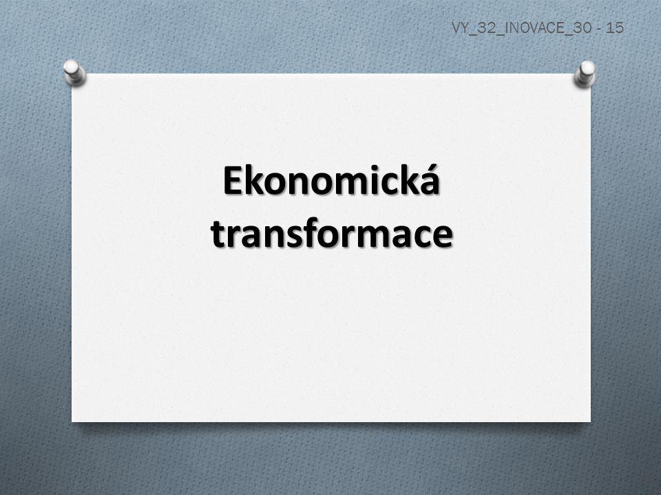 Transformace - přeměna ekonomiky plánovité na tržní a) plánovitá ekonomika: řízená státem, vytyčení ekonomických plánů (dvouletky, pětiletky) b) tržní ekonomika: řízená potřebou trhu, nabídku určuje poptávka a naopak