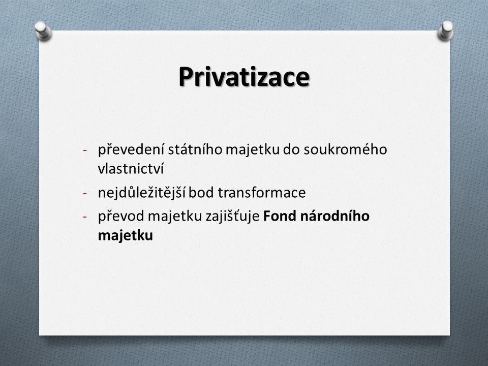 Způsoby privatizace a) malá privatizace: - restituce - bezúplatný převod na obce - veřejná aukce - veřejná soutěž - prodej předem určenému vlastníkovi b) velká privatizace = kupónová