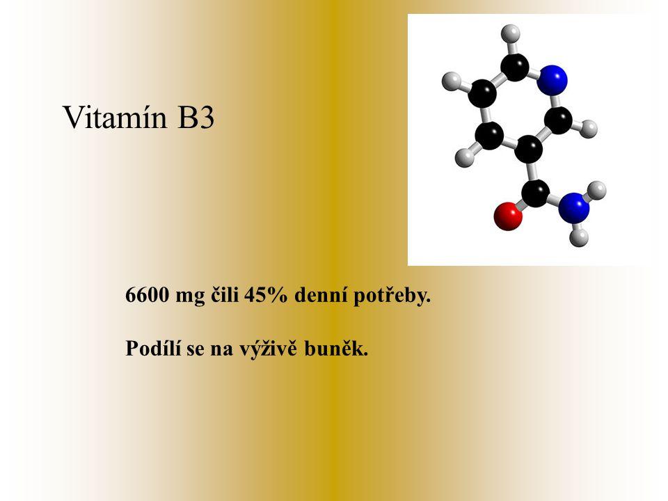 Vitamín B3 6600 mg čili 45% denní potřeby. Podílí se na výživě buněk.