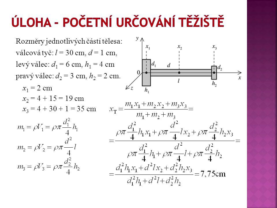  Těžiště soustavy n částic můžeme chápat jako speciální částici s hmotností celé soustavy M = m 1 + m 2 +...