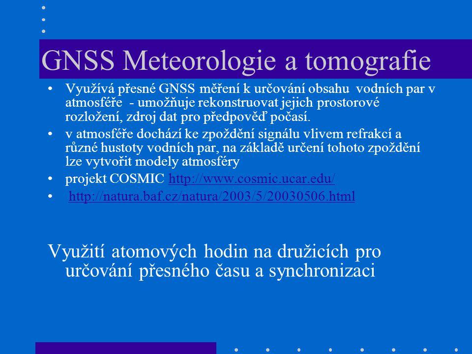 postupné nahrazování klasických terestrických metod široké uplatnění v mnoha oborech – inženýrská geodézie, katastr nemovitostí, geodetické základy, fotogrammetrie, tematické mapování pro GIS, laserové skenování, tvorba DTM – bezpilotní letouny nutná přesnost na mm až cm – využití dvoj a vícefrekvenčních přijímačů, určování polohy pomocí fázového měření Měření pomocí GNSS v geodézii S= L*N + f L – vlnová délka N – celý(neznámý) počet vln - ambiguit f – fázový zbytek (délka vln L1 a L2 přibližně 19 a 24cm)