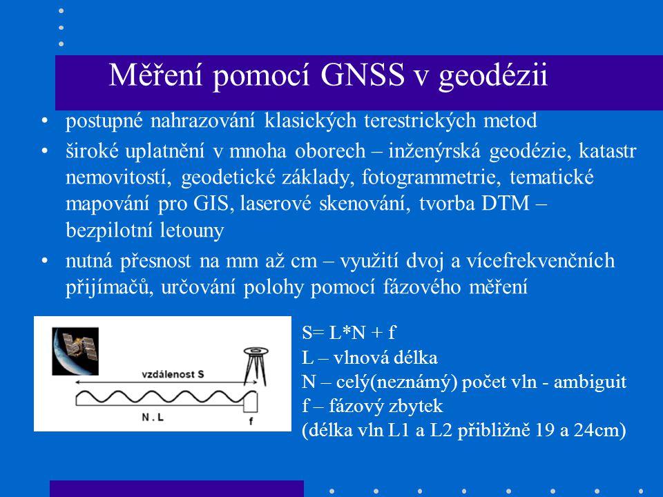Metody určení polohy Geocentrický souřadnicový systém WGS – 84, měří se prostorové vektory k jednotlivým družicím Potřebné min 4 družice pro určení souřadnic X,Y,Z a T (oprava chodu hodin) Transformace do národního rovinného souř.