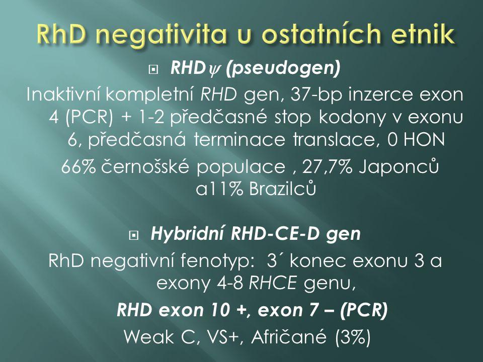  Pro spolehlivou RHD genotypizaci – nutné analyzovat více oblastí RHD genu  Nejčastěji kombinace exonu 7 a 10 nebo exonu 7 a 5  Nutné zohlednit etnickou populaci (výskyt alterací RHD genu)
