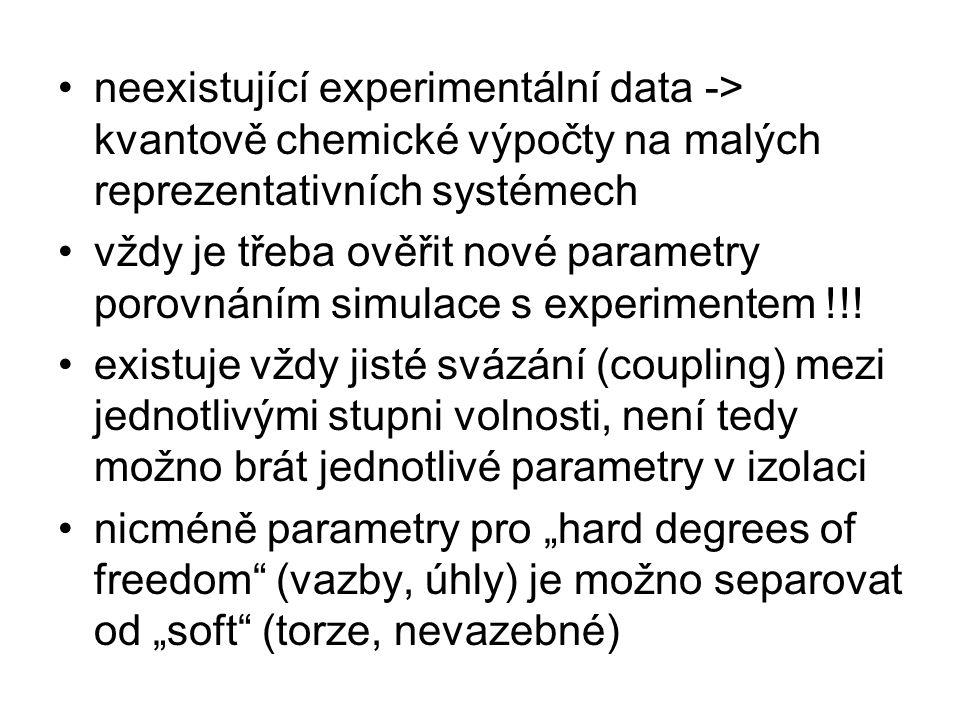 """""""soft parametry jsou nicméně hodně svázané (coupled) a navzájem se signifikantně ovlivňují úspěšný protokol: 1)vdW parametry 2)elektrostatický model 3)torzní potenciál takový, aby byly reprodukovány torzní bariéry společně s relativními energiemi konformací –samozřejmě je mnohdy nutno měnit parametry v tomto iterativním procesu"""