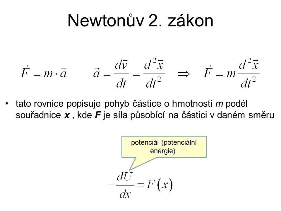 řešením pohybových rovnic jsou polohy atomů měnící se s časem, ze tvaru 2.