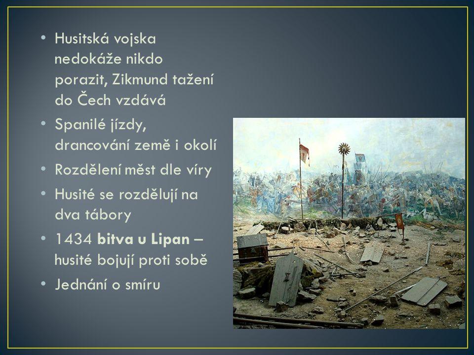 1436 se Zikmund stává českým králem Země vyčerpaná Povoleno přijímání podobojí Vliv církve oslaben 1437 Zikmund náhle zemřel Neměl potomka Praha