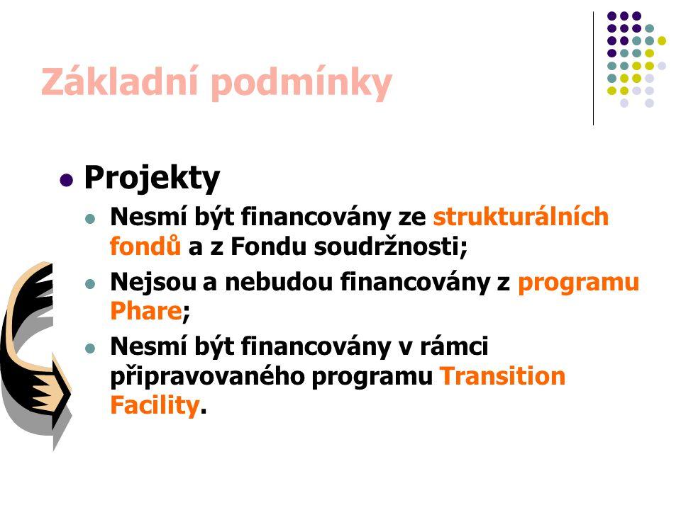 Typy projektů individuální projekty jasně identifikovatelné cíle žádost pro individuální projekt může zahrnovat jeden nebo více sub-projektů částka grantové pomoci musí být víc jako 250 000 eur programy (skupiny projektů) specifické formy grantové pomoci (blokové granty)