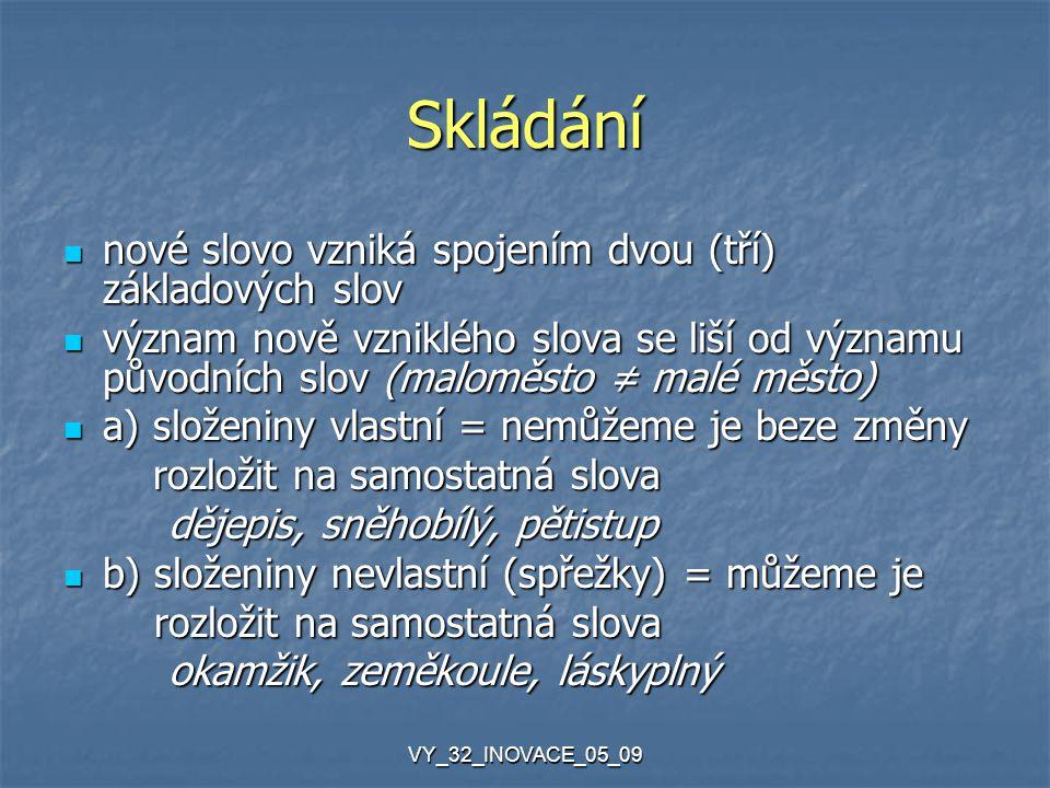 VY_32_INOVACE_05_09 Zkracování z víceslovného názvu vytvoříme jedno slovo z víceslovného názvu vytvoříme jedno slovo zkratková slova = z počátečních hlásek, slabik, zkratková slova = z počátečních hlásek, slabik, hláskových skupin hláskových skupin vyslovují se jako slova, skloňují se Čedok = Česká dopravní kancelář iniciálové zkratky = pouze z prvních písmen iniciálové zkratky = pouze z prvních písmen vyslovují se po písmenech, většinou se neskloňují ČR, OSN, ČVUT, ČNB