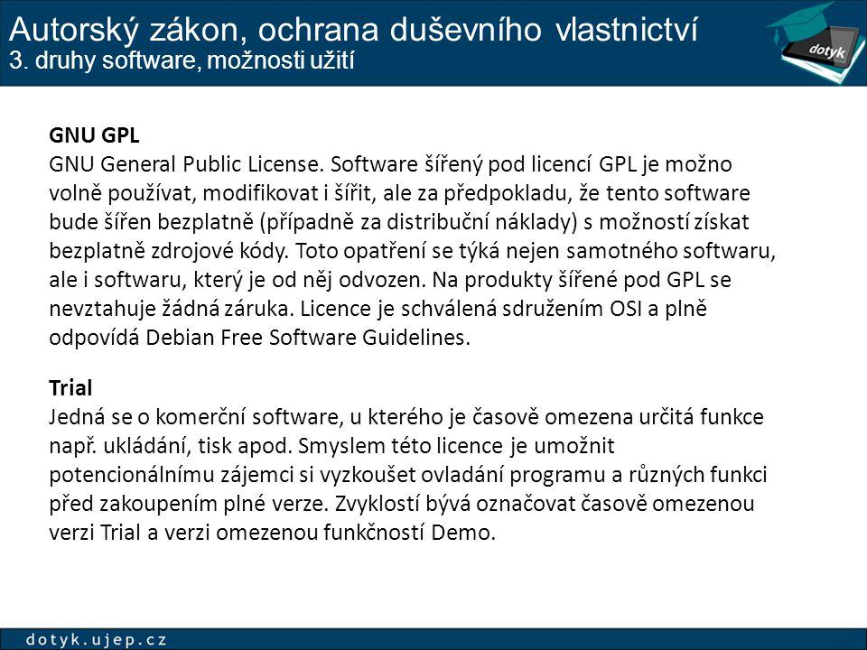 Autorský zákon, ochrana duševního vlastnictví 3.