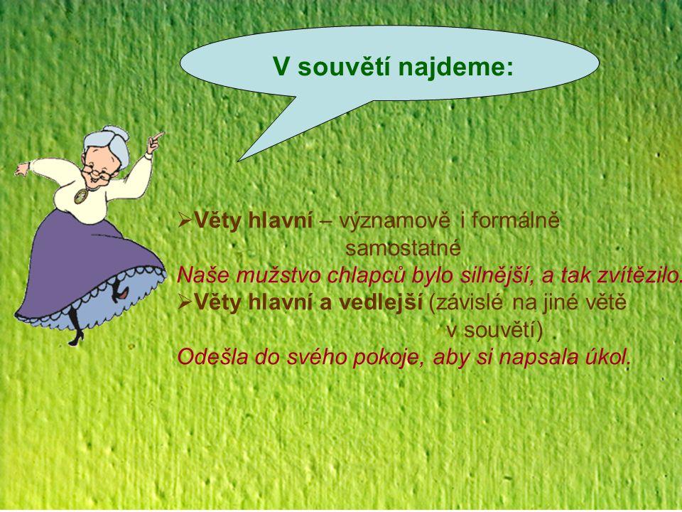 Vztahy mezi větami v souvětí  Souřadnosti  mezi větami hlavními Seděla za stolem a usilovně přemýšlela.