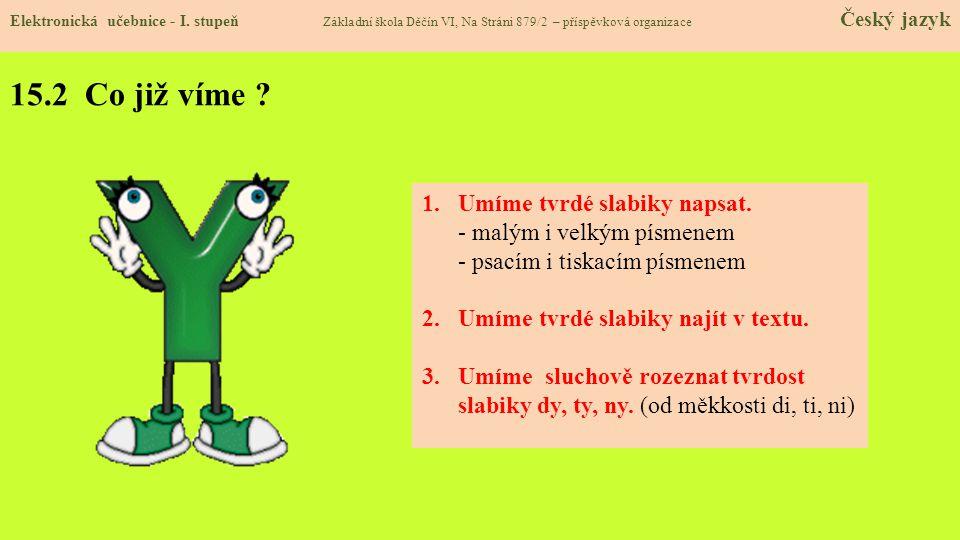 15.3 Jaké si řekneme nové termíny a názvy.Po souhláskách h, ch, k, r, d, t, n se píše tvrdé y – ý.