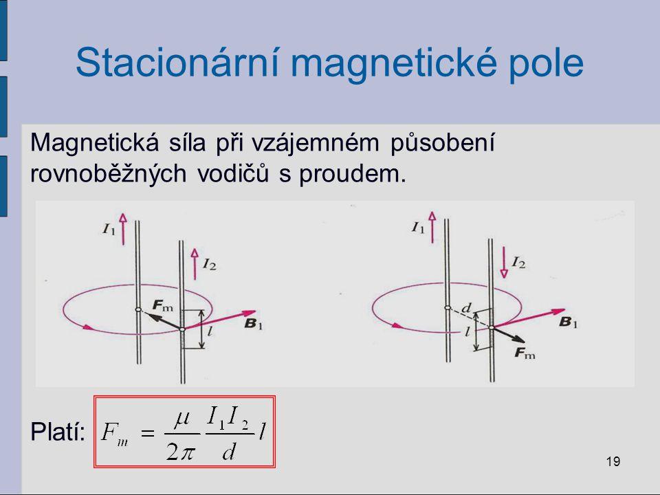 Stacionární magnetické pole Definice jednotky proudu ampér A: Ampér je stálý proud, který při průchodu dvěma přímými rovnoběžnými nekonečně dlouhými vodiči zanedbatelného průřezu umístěnými ve vakuu ve vzdálenosti 1 m od sebe vyvolá mezi vodiči sílu o velikosti 2·10 -7 N na 1 m délky vodiče.