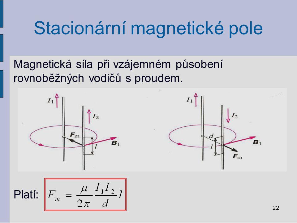 Stacionární magnetické pole Částice s nábojem v magnetickém poli: - magnetická síla F m působící na částici s nábojem pohybující se v magnetickém poli je v každém okamžiku kolmá k magnetické indukci B i k rychlosti částice v.