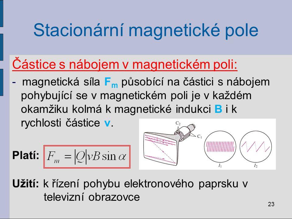Stacionární magnetické pole Magnetické vlastnosti látek:  jednotlivé elektrony v atomech vytvářejí elementární magnetická pole ty se skládají a vytvářejí výsledné magnetické pole atomu  podle uspořádání elektronů v atomu se magnetické pole uvnitř atomu navzájem: a) zcela zruší = diamagnetické atomy b) částečně zruší = paramagnetické atomy 24