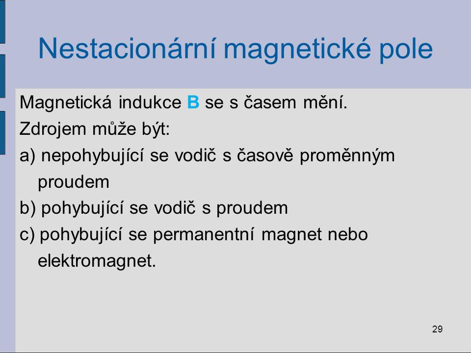 Nestacionární magnetické pole Elektromagnetická indukce: a)pohyb magnetu v blízkosti cívky b)P = primární cívka, S = sekundární cívka změna proudu v P, sepnutí (rozpojení) vypínače
