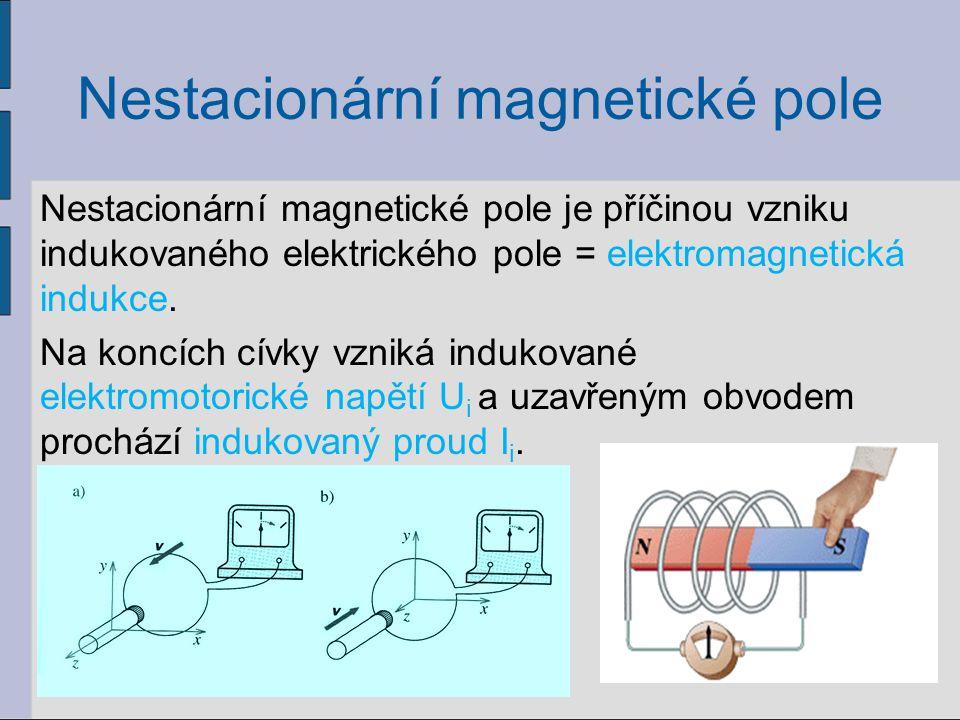 Nestacionární magnetické pole Magnetický indukční tok Ф: Platí: B = magnetická indukce S = obsah rovinné plochy α = úhel mezi B a normálou plochy Jednotkou je weber, značka Wb.