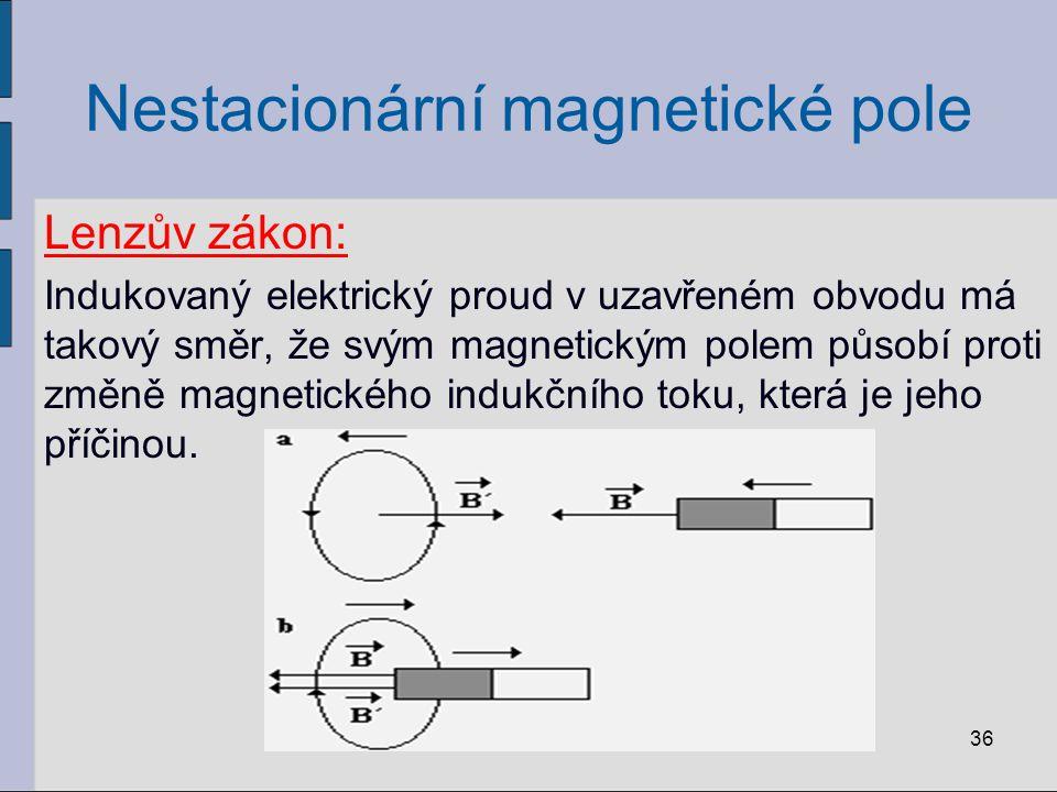 Příklad: V rovině, která je kolmá k indukčním čárám homogenního magnetického pole o magnetické indukci velikosti 10 -2 T, leží drátěný závit o odporu 1Ω.