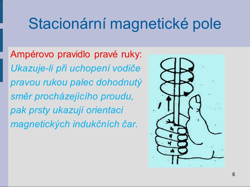 Stacionární magnetické pole b) cívky v dutině cívky indukční čáry rovnoběžné homogenní (stejnorodé) magnetické pole 7