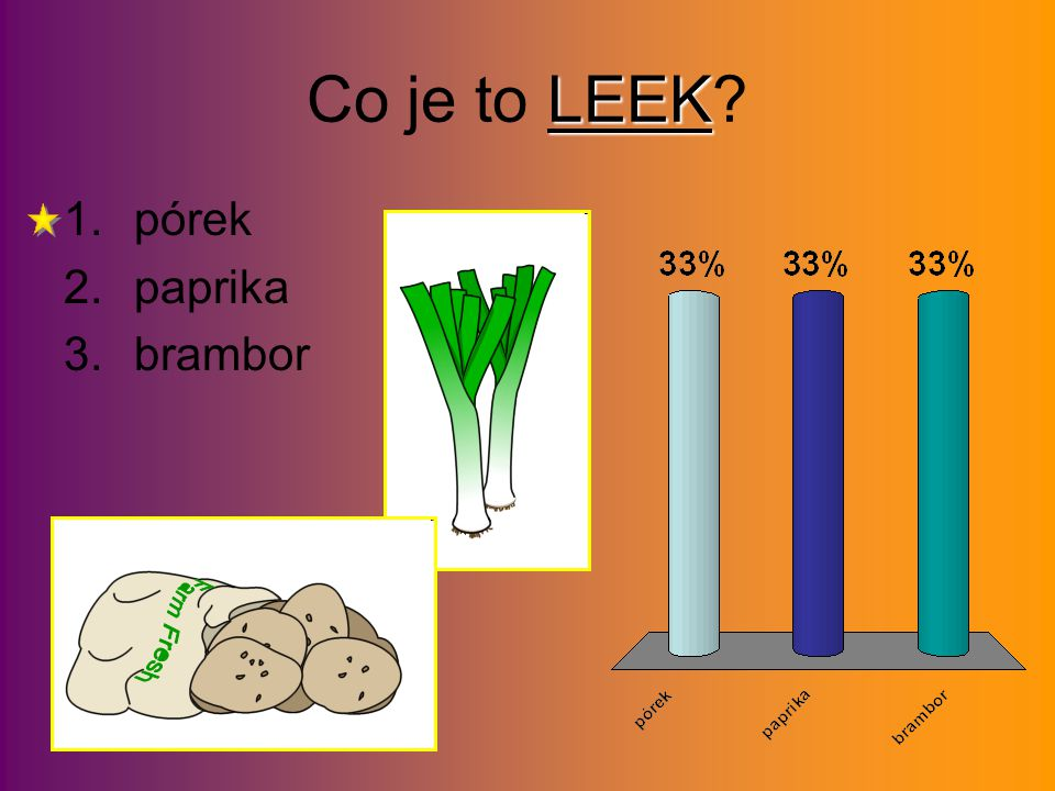 LEEK Co je to LEEK? 1.pórek 2.paprika 3.brambor
