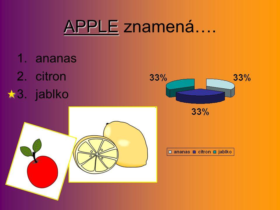 APPLE APPLE znamená…. 1.ananas 2.citron 3.jablko