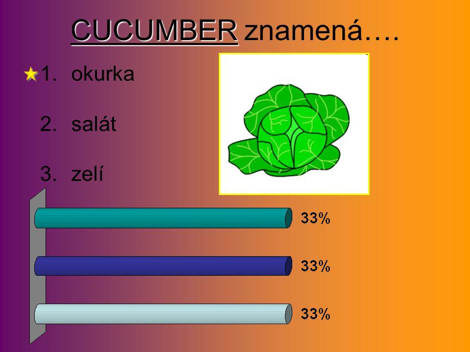 CUCUMBER CUCUMBER znamená…. 1.okurka 2.salát 3.zelí