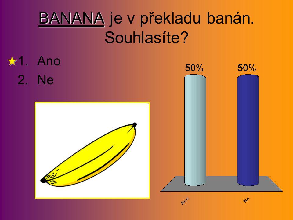 BANANA BANANA je v překladu banán. Souhlasíte? 1.Ano 2.Ne