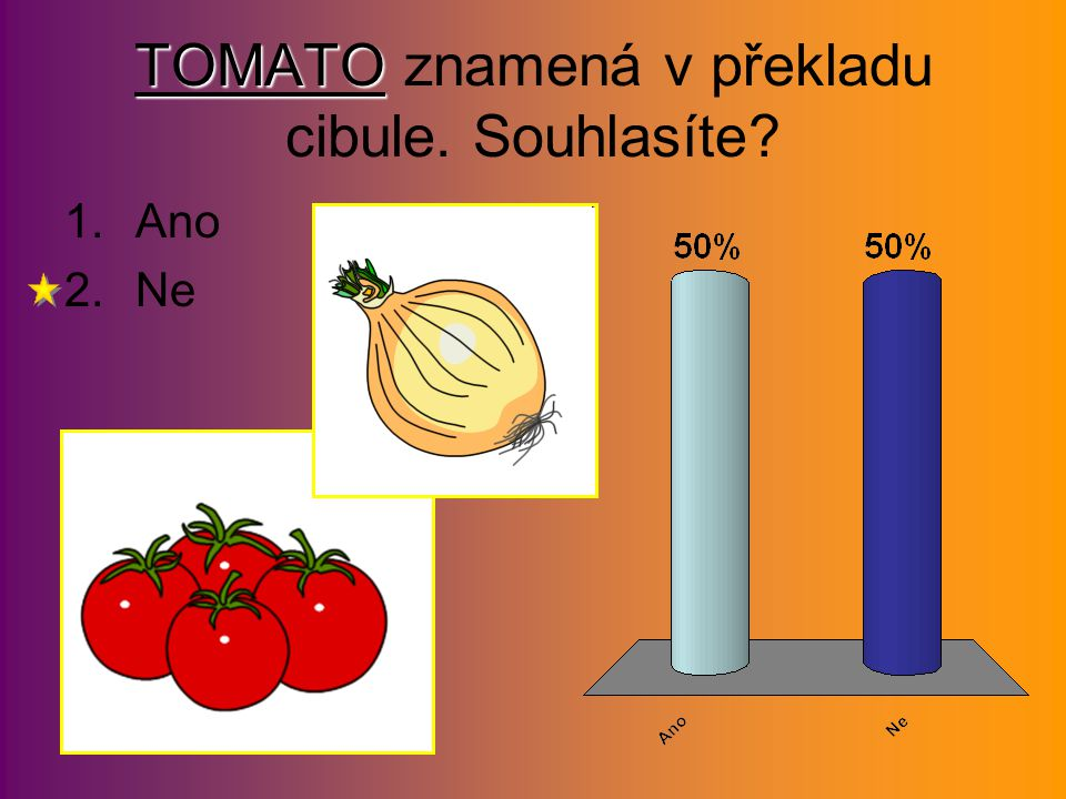 TOMATO TOMATO znamená v překladu cibule. Souhlasíte? 1.Ano 2.Ne