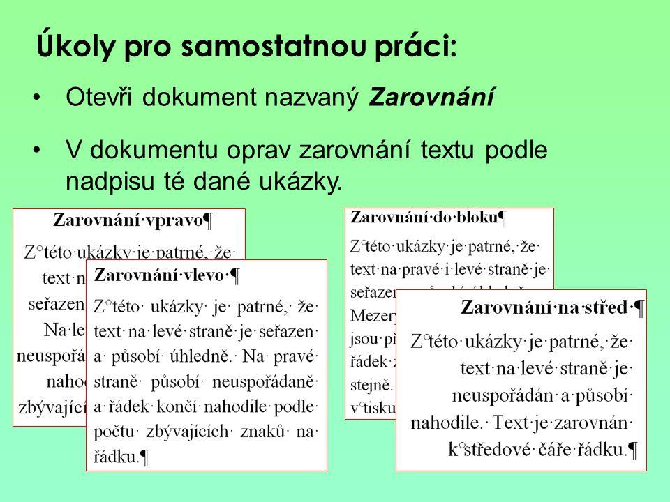 Zrušení formátování textu 1.Označit text na kterém chceme zrušit formátování 2.Klepnout na tlačítko Zrušení formátování