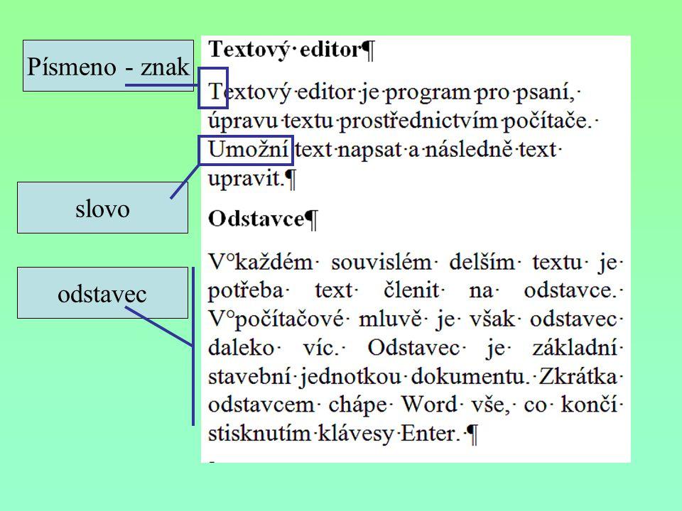 Jak chápe Word odstavce.Odstavec je vše, co je na začátku a na konci odděleno klávesou Enter.