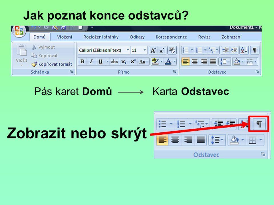 Spojování odstavců a mazání mezer Jak spojit dva odstavce do jediného.