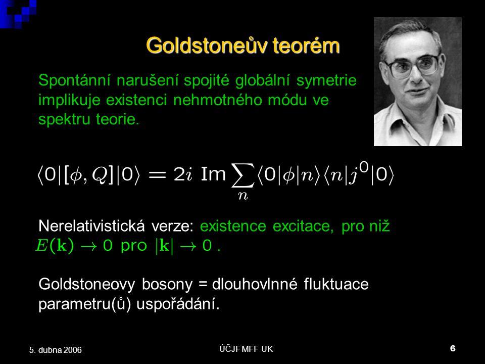 ÚČJF MFF UK7 5.dubna 2006 Nízkoenergetické vlastnosti GB  Disperzní relace Goldstoneova bosonu.