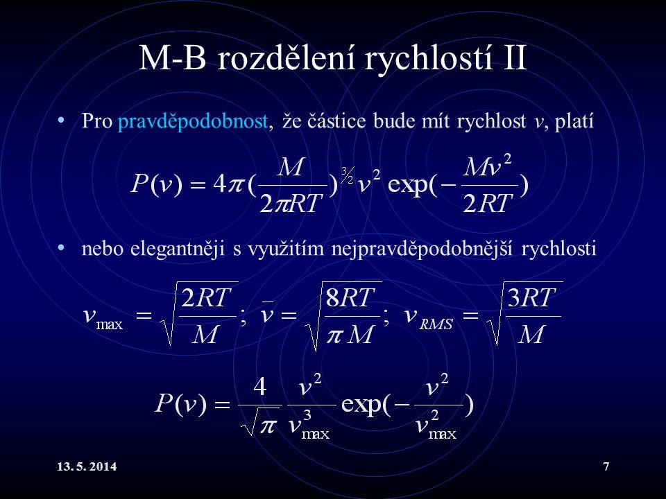 13. 5. 20148 Průběh funkce P(v) pro vodík při 373 K P (v) v [m/s]
