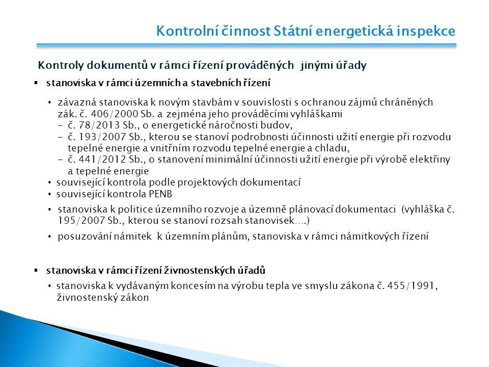 Kontrolní činnost Státní energetická inspekce Stanoviska v rámci řízení stavebních úřadů Stanoviska 2014 …...