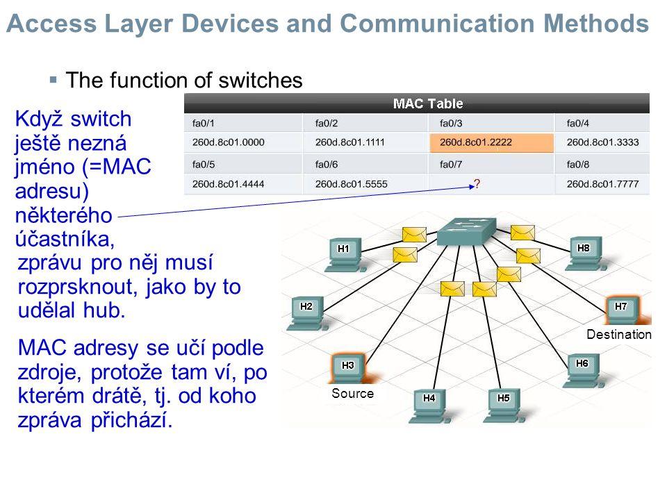  Broadcast Domains and broadcasts using hubs and switches Někdy účastník potřebuje oslovit všechny ostatní v lokální síti.