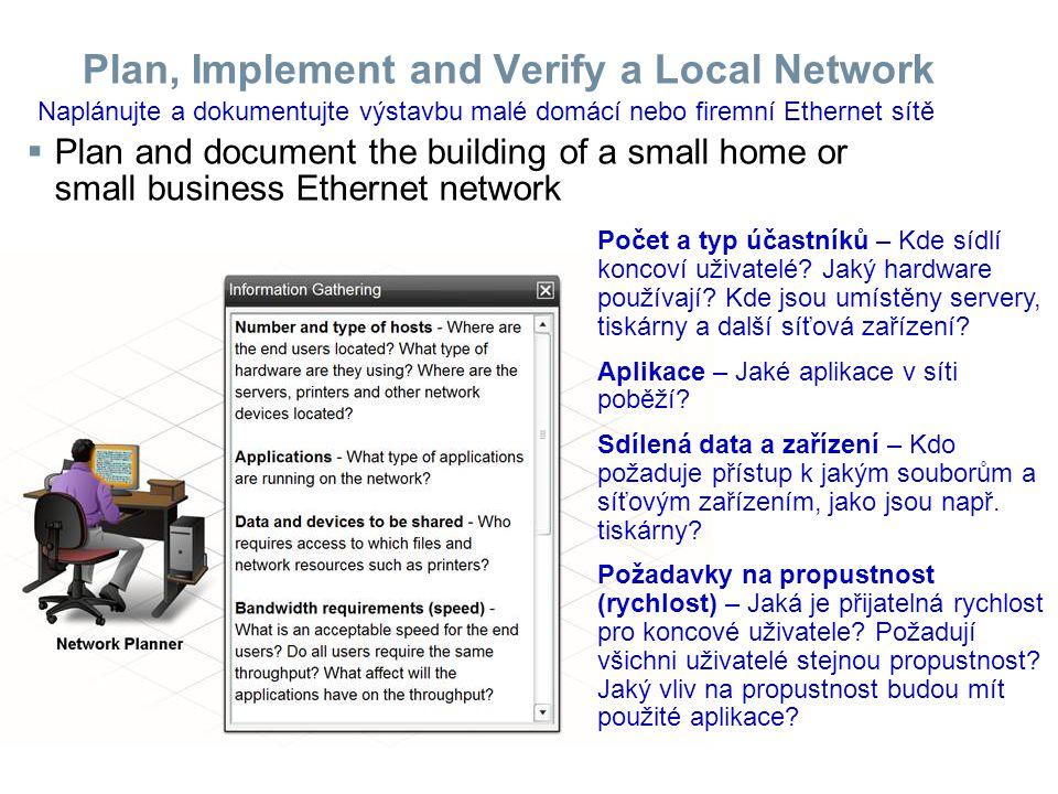 Plan, Implement and Verify a Local Network  Multifunction devices and how they are used in the network Jedno zařízení obsahuje bezdrátový Access Point směrovač přepínač Jednotlivé části jsou propojeny uvnitř a jsou neoddělitelné.