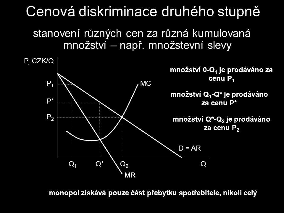 stanovení různých cen za různá kumulovaná množství – např.